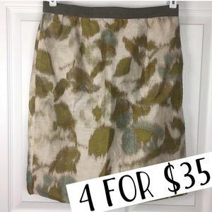 LOFT blue green cream watercolor pencil skirt 2